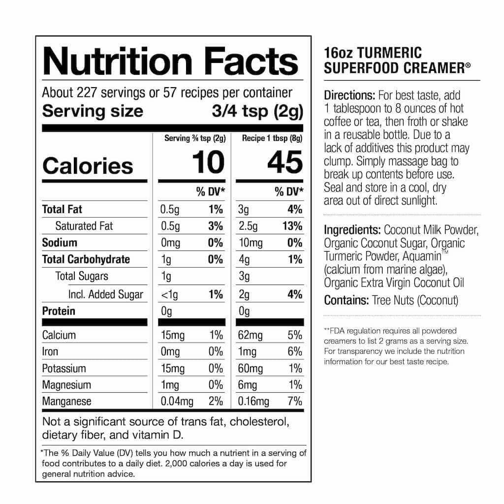 nutrition facts turmeric creamer