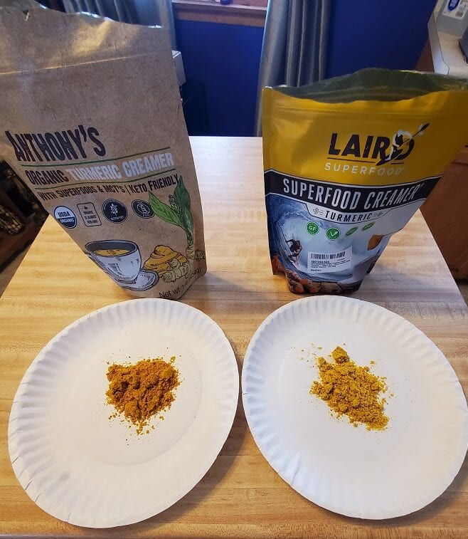 laird turmeric anthony's turmeric creamer side by side