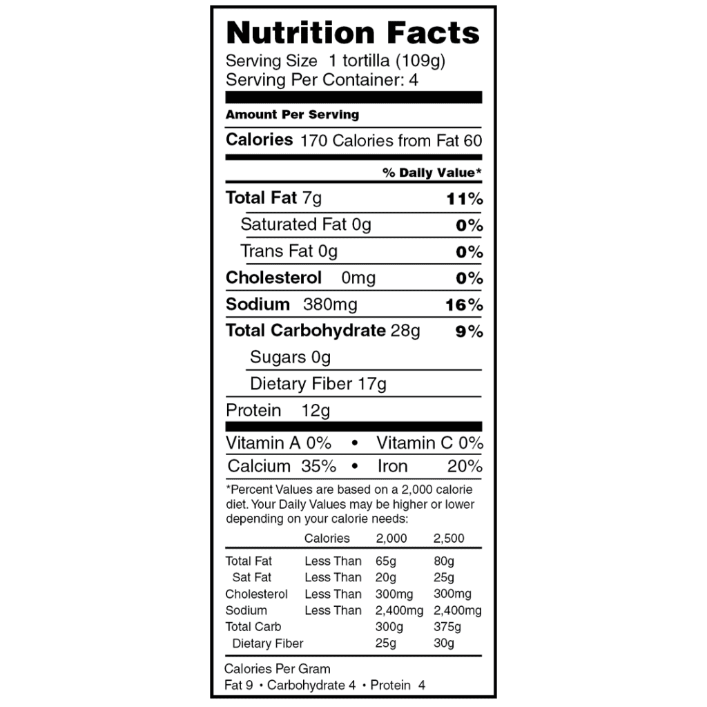 mr. tortilla obad tortillas nutrition facts