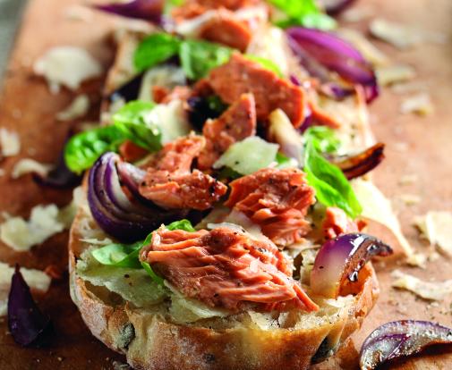 salmon and lettuce on toast