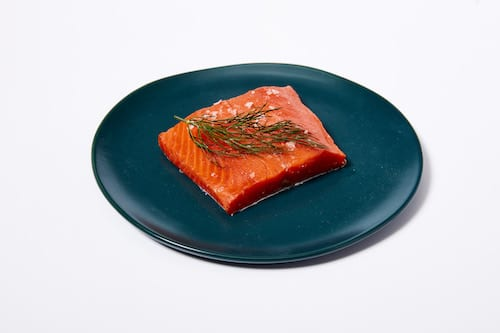 pink salmon on plate