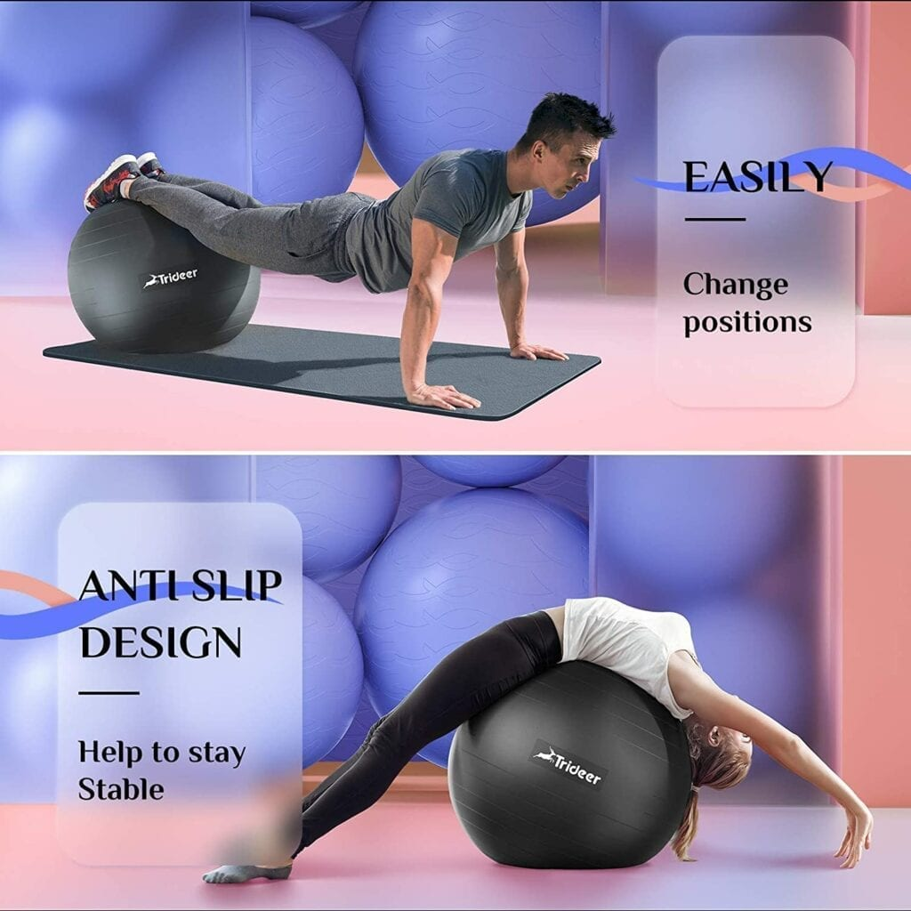 man and women exercising on ball